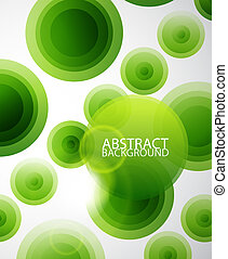 Green circles abstract background - Light green translucent...