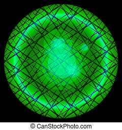Green Circles on black background