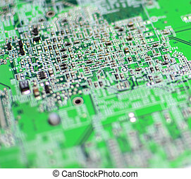 Green circuit PC board macro shot