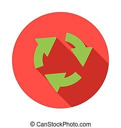 Green circular arrows icon, flat style