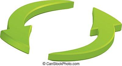 Green circular arrows icon, vector symbol