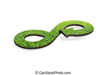 Green circular economy concept, 3D rendering - Green...