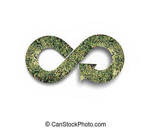 Green circular economy concept. Arrow infinity symbol with...