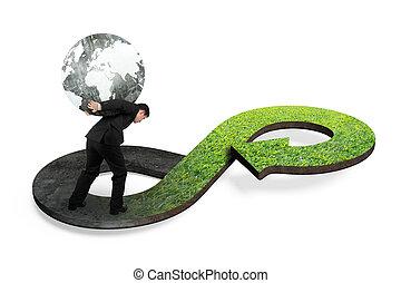 Green circular economy concept. Man carrying globe on arrow...