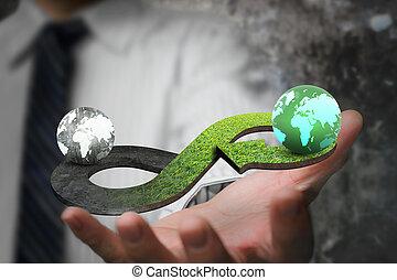 Green circular economy concept. Hand showing arrow infinity...