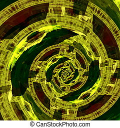 Green circular fractal artwork. Mad mind. Fractal art style....