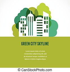 Green city and skyline icon