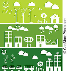 Green city concept illustration - Go green city banners. ...