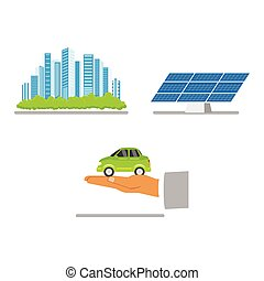 Green city concept, solar panel, electric vehicle