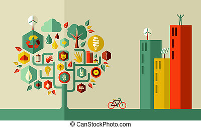 Sustainable energy town concept . Vector file layered for easy manipulation and custom coloring.