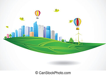 Green City - easy to edit vector illustration of ecofriendly...