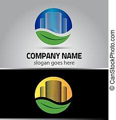 Green City eco logo building