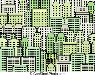 Green city - Simple city illustration - skyscrapers and...