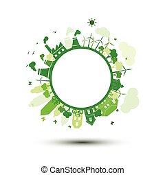 Green city - green city sustainable nature concept ,vector ...