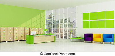 green city office - colored city office -rendering the image...