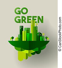 Green city paper cut concept for environment care - Eco...