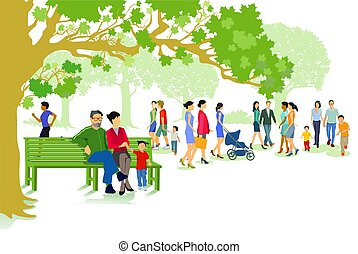 green city park with families and people.eps