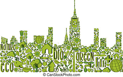 City silhouette with environmental hand drawn icons in green. This illustration is layered for easy manipulation and custom coloring