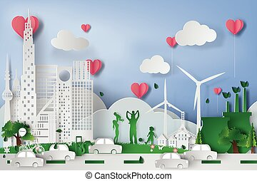 Green city  with eco concept elements. Vector,heart,pink,illustration