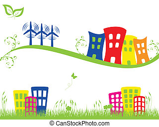 Green city with wind turbines - Green city banners with wind...