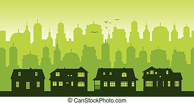 Green Cityscape Background