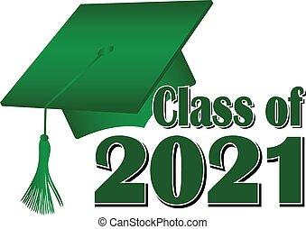 Green Class of 2021 Graduation Cap