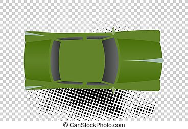 Green classic car from top view vector illustration. Flat...