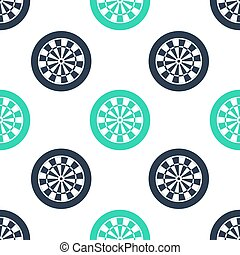 Green Classic darts board with twenty black and white sectors icon isolated seamless pattern on white background. Dart board sign. Dartboard sign. Game concept. Vector