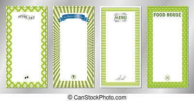 Green classic, retro, vintage restaurant menu templates - 20x40 cm