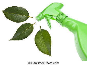 Green Cleaning - Green Spray Bottle with Leaf Spray for...
