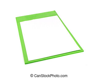 Green clipboard isolated on white