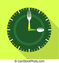 Green clock face icon, flat style - Green clock face icon. ...