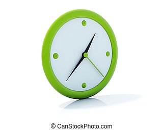 Green clock icon isolated on white