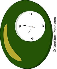 Green clock, illustration, vector on white background.