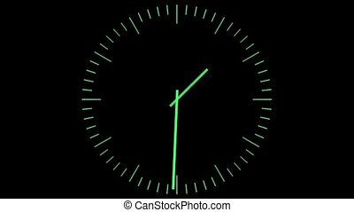 Green clock on a black background