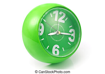Green clock on white