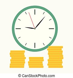 Green clock with coin flat style isolated on blue background