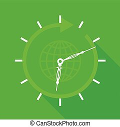 Green clock with globe icon, flat style