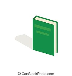 Green closed book icon, isometric 3d style