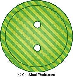 Green cloth button icon, cartoon style