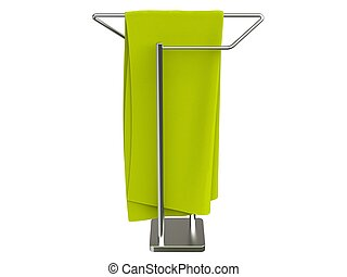 Green cloth hanging on a towel rack