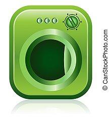 Green Clothes Dryer Washing Machine - This illustration ...