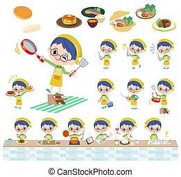 Green clothing glasses boy_cooking - A set of boy about...