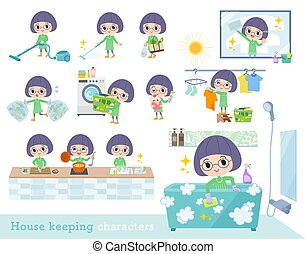 A set of girl related to housekeeping such as cleaning and laundry. There are various actions such as cooking and child rearing. It's vector art so it's easy to edit.