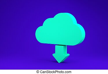 Green Cloud download icon isolated on blue background. Minimalism concept. 3d illustration 3D render