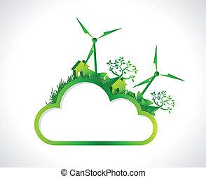 green cloud hanging banner illustration design