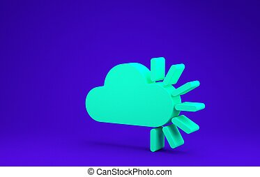 Green Cloudy icon isolated on blue background. Minimalism concept. 3d illustration 3D render