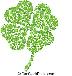 Green Clover for St. Patrick's Days, Isolated On White Background, Vector Illustration