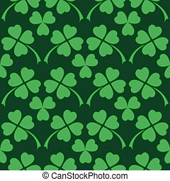 Green clover leaf seamless pattern - Traditional dark green...