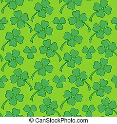 Green clover leaf seamless pattern - Traditional vibrant...